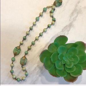 Jewelry - VTG-BOHO-Green Jade Look Beaded Choker Necklace
